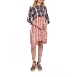 Philosophy Ombre Plaid Embroidered Shirt Dress